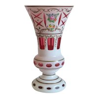 Antique Bohemian Cranberry and White vase, ca. 1910