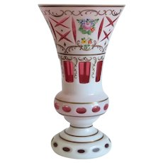 Antique Bohemian Cranberry and White vase, ca. 1910