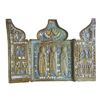 Antique Russian Triptych with enamel, 19th century