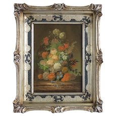 Vintage flower painting, oil on wood, ca.1940