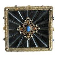 Antique jewelry box, gilt metal, 19th century