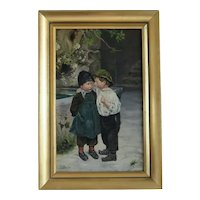 Antique painting depicting a girl and a boy, early 20th century