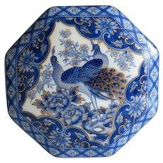 Vintage blue and white Imari porcelain box, 20th century