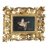 Antique Italian Pietra Dura plaque, gilt wood frame, ca. 1898