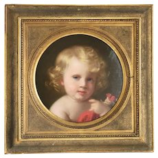 Antique portrait of a little child, ca. 1850