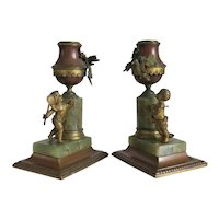 Antique French candlesticks, gilt metal, 19th century