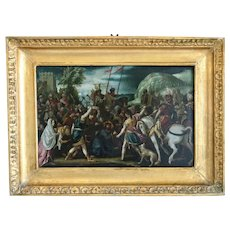 Antique Italian painting, oil on copper, 16th century