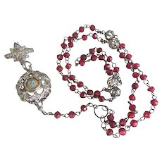 Antique Bavarian Rosary , silver filigree, 19th century