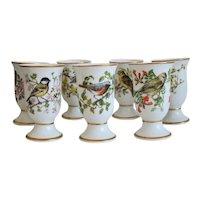 Vintage 7 porcelain goblets signed Franklin de Paris, dated 1981