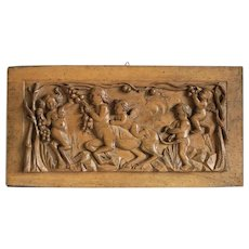 Antique nut wood panel with  bacchanalian scene ,19th century