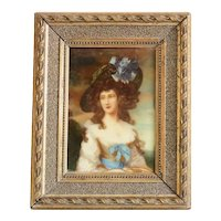 Antique porcelain painting of a young lady, 19th century