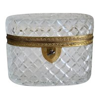 Antique French lead crystal box, 19th century