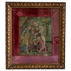 Antique 17th century silk needle work