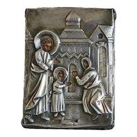 Antique Russian Icon, silver 800, 19th century