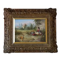 Antique painting depicting a group of ducks, late 19th century