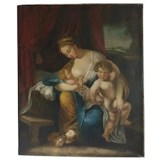 Antique painting depicting a queen with her children, 19th century
