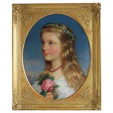 Antique Biedermeier painting, oil on canvas, ca, 1840