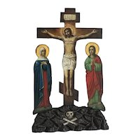 Antique Greek wooden crucifix, hand carved, 19th century