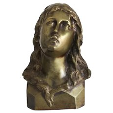 Antique Bronze bust depicting St.Mary Magdalene, ca. 1900