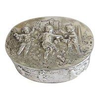Antique silver box with Cherubs, 19th century