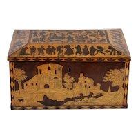 Antique Italian wooden card box, 19th century