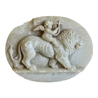 Antique Alabaster relief, signed and dated 1910