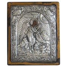 Antique Greek silver Icon, late 19th century