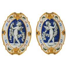 Antique Florentine Majolica plates, ca. 1900
