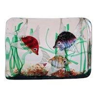 Vintage Murano Gino Cenedese glass block aquarium,ca.1950