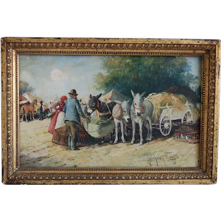 Antique oil painting depicting a market, signed , Hungary early 20th century