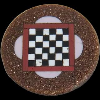 Antique Pietra Dura button, 19th century
