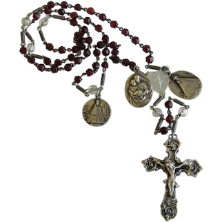 Antique Garnet Rosary with silver crucifix, 19th century