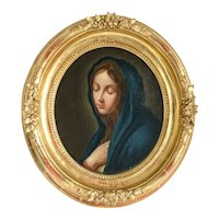 Antique Italian painting of the Holy Mary, 19th century
