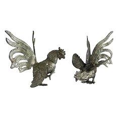 Pair of  Italian fighting cocks , silver plate, 20th century