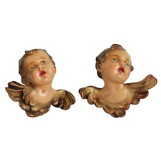 Antique porcelain winged Cherubs, 19 th century