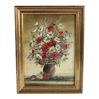 Vintage flower painting, oil on canvas, ca.1940