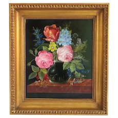 Flower painting, oil on canvas, 1st half 20 th century
