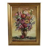 Vintage flower oil painting, ca. 1940