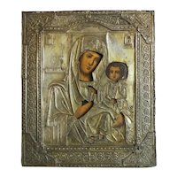 Antique Russian Icon depicting the Holy Virgin of Iwerskaya, 19th century