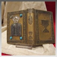 Antique Siddur, jewish prayer book with beautiful adorned metal cover