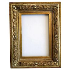 Antique Gilt wood frame with detailed  carving, 19th century