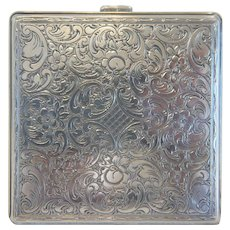 Antique silver compact, hallmarked and maker´s mark, ca. 1900