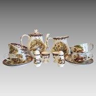 Vintage Worcester Palissy Game Series tea set, ca.1960-1979