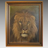 Painting depicting the head of a lion, oil on canvas, signed and dated 1980