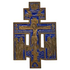 Antique royal blue enamel crucifix, Russia 19th century
