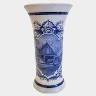 Vintage Delft Vase, hand painted blue and white, mid 20th century