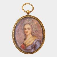 Antique portrait miniature, gilt silver frame, early 19th century