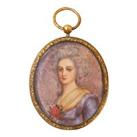 Antique portrait miniature, gilt silver frame, early 19th century