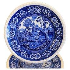 Villeroy & Booch Rusticana blue 6 dinner plates, 1 serving plate, ca. 1960