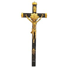 Antique crucifix, gilt silver and ebonized wood, 19th century